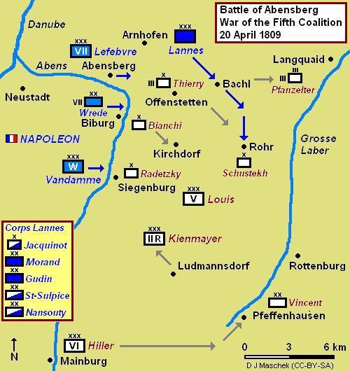 Mapa de la batalla de Abensberg, donde se muestra el avance de Lannes en Bachl y Rohr.